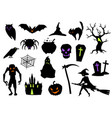 happy halloween set celebration items vector image