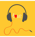Headphones with red cord Love card White text and vector image vector image
