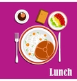 Healthy lunch dishes salad and drink vector image vector image
