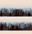 horizontal banners downtown roofs with vector image vector image