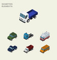 isometric transport set of autobus armored first vector image vector image