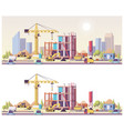 low poly construction site vector image vector image