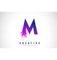 m purple letter logo design with liquid effect vector image vector image