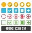 Marks icons set with shadow vector image