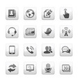Media and communication icons set silver gray