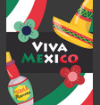 mexican independence day bottle tequila flowers vector image vector image