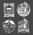 monochrome vintage surfing badges set vector image vector image