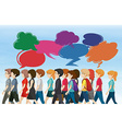 People walking with bubble speeches vector image vector image
