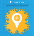 Plus Map pointer GPS location Floral flat design vector image