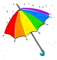 Rainbow umbrella under the rain vector image vector image