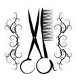 scissors and comb with ornament vector image vector image