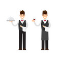 set of waiter and sommelier character design vector image