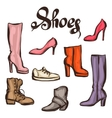 set various shoes hand drawn vector image
