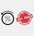 stroke percent back icon and grunge 100 vector image vector image
