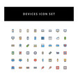 technology device icon set with filled outline vector image vector image