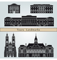 Tours landmarks and monuments vector image vector image