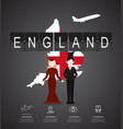 traveling to england with map of infographic vector image vector image