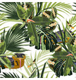 tropical seamless pattern with bright green leaves vector image vector image