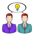 two businessmen and lightbulb icon icon cartoon vector image vector image