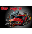 vintage car components collection witn automobile vector image vector image