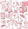 wine sketch and vintage doodles vector image vector image