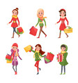 woman in christmas holidays shopping presents vector image vector image