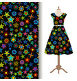 women fabric pattern with kaleidoscope stars vector image