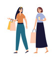 women friends shopping together girls talking and vector image