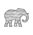 wooden elephant animal silhouette sketch vector image