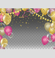 yellow and pink metallic baloons with gold flags vector image vector image