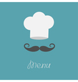 Chef hat and big mustache Menu card Flat design vector image