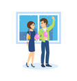 couple in love walks on background to streets of vector image