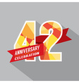 42nd Years Anniversary Celebration Design vector image vector image