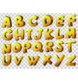 Alphabets in yellow color vector image vector image