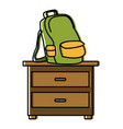 backpack on drawer vector image vector image