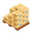 boxes at wooden pallet postal transportation vector image