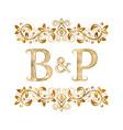 bp vintage initials logo symbol letters b vector image