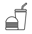 burger with drink icon vector image