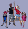 cartoon happy family of a couple with two children vector image vector image
