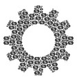 cog mosaic of discount coupon icons vector image vector image