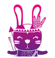 color silhouette cute rabbit animal with arrows vector image