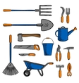 Colored sketch icon of gardening hand tools vector image vector image