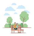 couple sitting in park chair characters vector image vector image