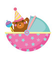 cute and little bear baby character vector image vector image