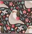 eamless pattern with cute sloth vector image vector image