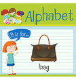 Flashcard letter B is for bag vector image vector image