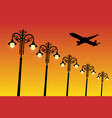 flying aircraft and vintage lampposts at sunset vector image