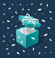 gift box and silver confetti teal jewelry box on vector image vector image
