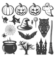 Halloween Monochrome Elements Set vector image