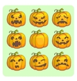 Halloween scary pumpkins set vector image